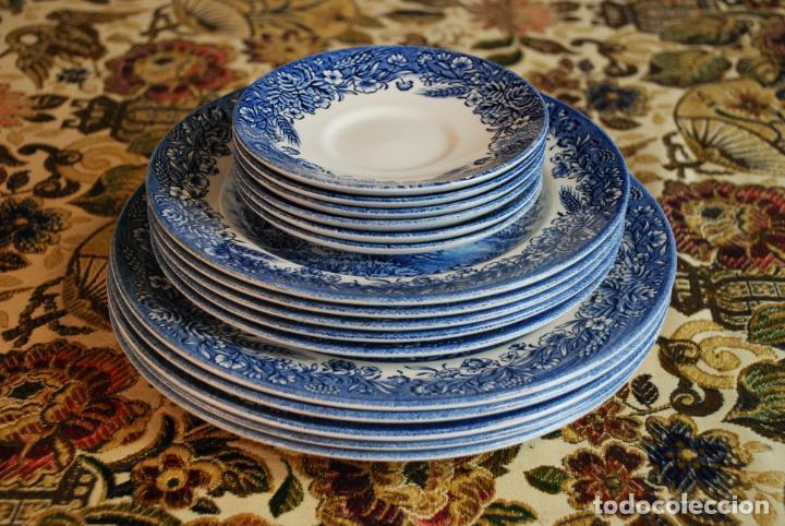 Antigüedades: Vajilla inglesa Churchill. 16 platos de tres tamaños. 24, 20 y 13 cm. Bella decoración. Siglo XX. - Foto 11 - 232761685
