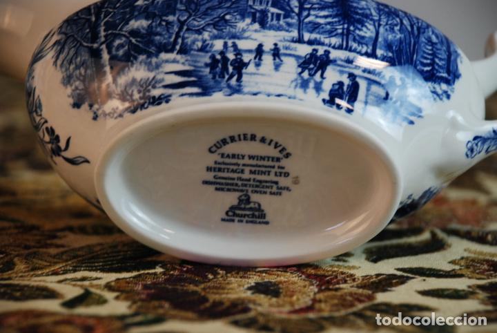 Antigüedades: Conjunto de 4 piezas de vajilla inglesa Churchill. Currier & Ives. Muy bella decoración. Siglo XX. - Foto 13 - 232763605