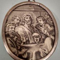 Antigüedades: RELICARIO DE PLATA DE LEY SIGLO XVII CON DIBUJO Y IMAGEN DE VIRGEN SOBRE TELA BORDADA MIDE 8X6 CM. Lote 232791710