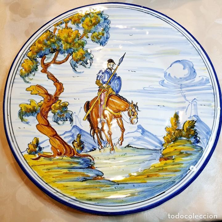 DON QUIJOTE DE LA MANCHA PLATO CERAMICA DE TALAVERA (Antigüedades - Porcelanas y Cerámicas - Talavera)