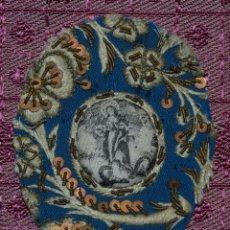 Antigüedades: ESCAPULARIO RELICARIO LABOR DE MONJAS BORDADO LENTEJUELAS ANTIGUO XVIII O XIX. Lote 233002755