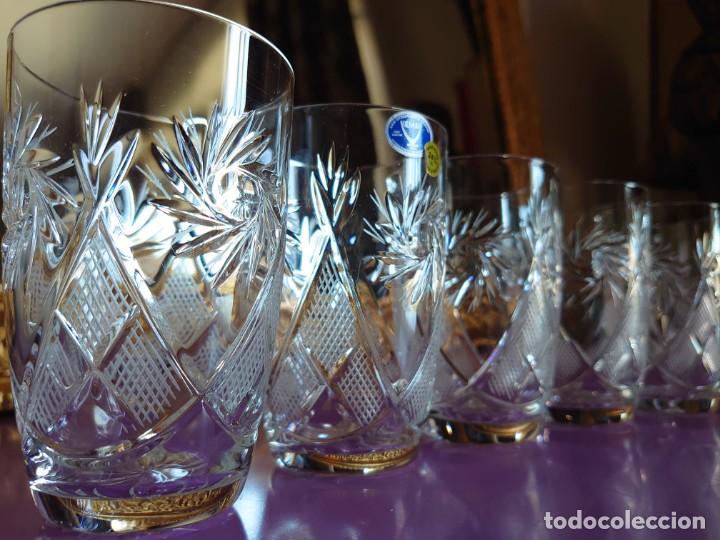 6 VASOS CRISTAL DE BOHEMIA TALLADO A MANO (Antigüedades - Cristal y Vidrio - Bohemia)
