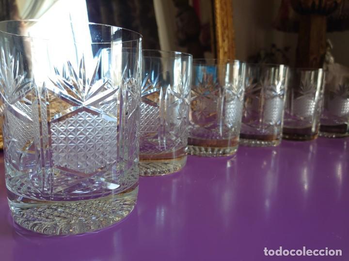 6 VASOS WHISKEY CRISTAL DE BOHEMIA TALLADO A MANO (Antigüedades - Cristal y Vidrio - Bohemia)