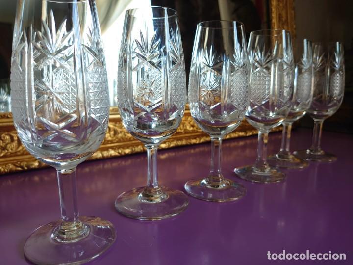 6 COPAS VINO DULCE CRISTAL DE BOHEMIA TALLADO A MANO (Antigüedades - Cristal y Vidrio - Bohemia)