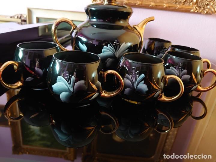 TETERA Y 6 TAZAS DE COLECCIÓN CRISTAL SOPLADO RUSO (Antigüedades - Cristal y Vidrio - Otros)