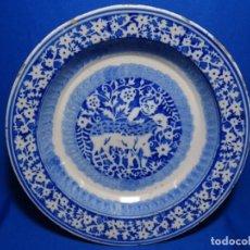 Antigüedades: GRAN PLATO DE TRIANA DEL SIGLO XIX.NIÑO CON CORDERO.BIEN CONSERVADO.. Lote 233035438
