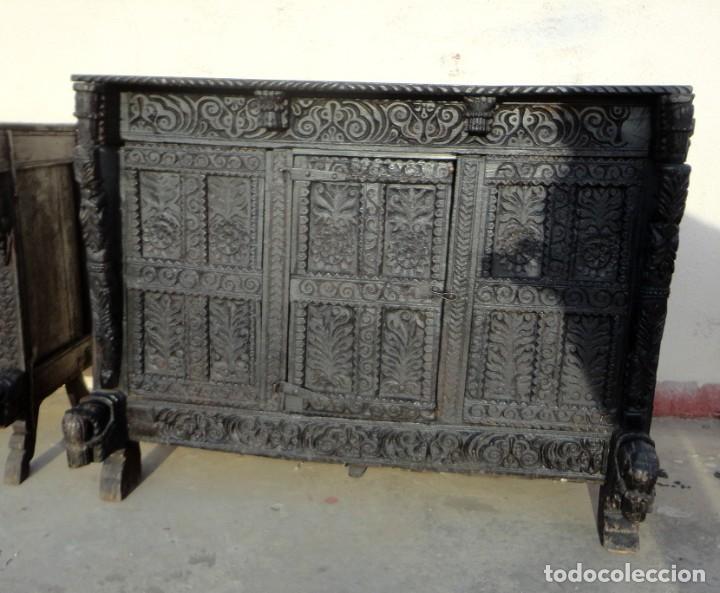 Antigüedades: Aparador, panera indu mueble oriental, en madera tallada - Foto 13 - 233084845