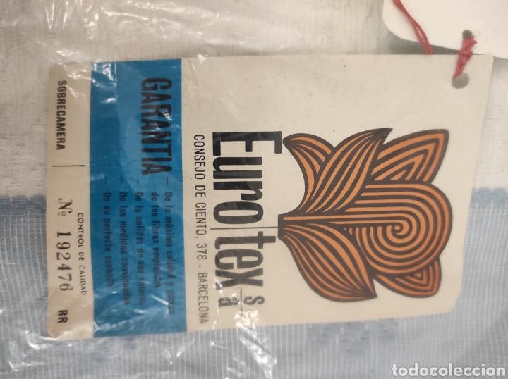 Antigüedades: Sobre cama azul y blanco nuevo sin uso vintage modelo eurotex para cama de 90 cm - Foto 2 - 233085490