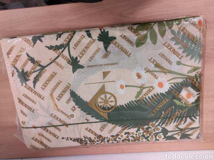 Antigüedades: Juego de sábanas decorado con plantas medidas 210 x 270 bajera 135 de poliéster y algodón - trinchet - Foto 3 - 233090620