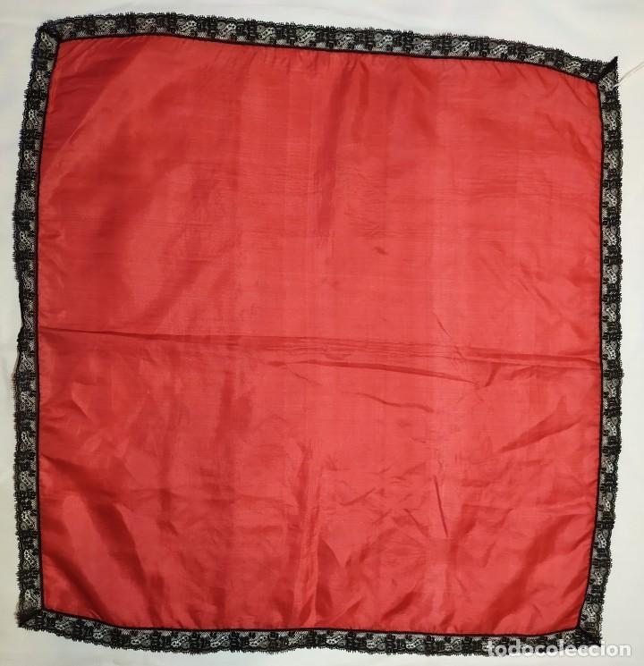 PAÑUELO DE SEDA Y ENCAJE (Antigüedades - Moda - Pañuelos Antiguos)