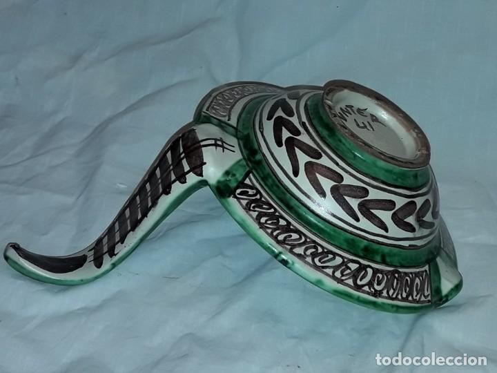 Antigüedades: Bella palmatoria de aceite cerámica Domingo Punter nº41 Teruel - Foto 8 - 233187405