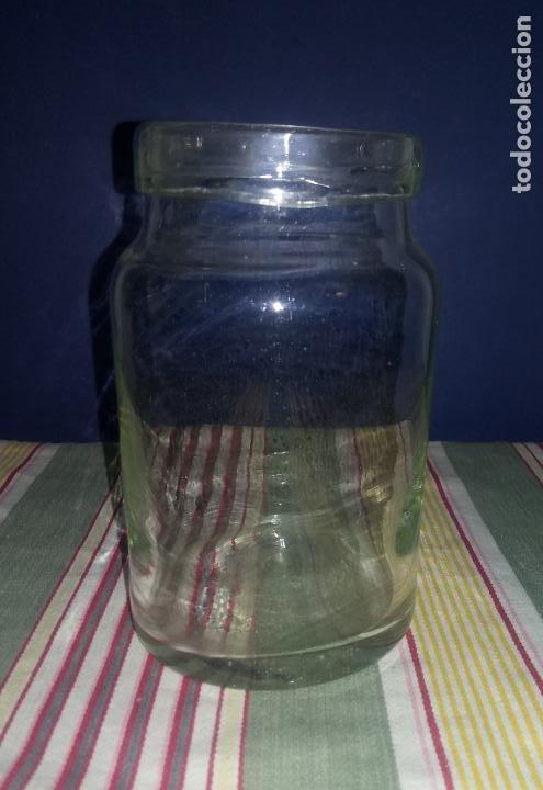 6 - ANTIGUO BOTE TARRO DE CRISTAL SOPLADO A MANO - 15 ALTO X 8 BOCA X 8.5 BASE CMS (Antigüedades - Cristal y Vidrio - Catalán)