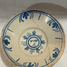 Oggetti Antichi: PLATO EN CERÁMICA AZUL DE TERUEL S. XVIII. Lote 233232060