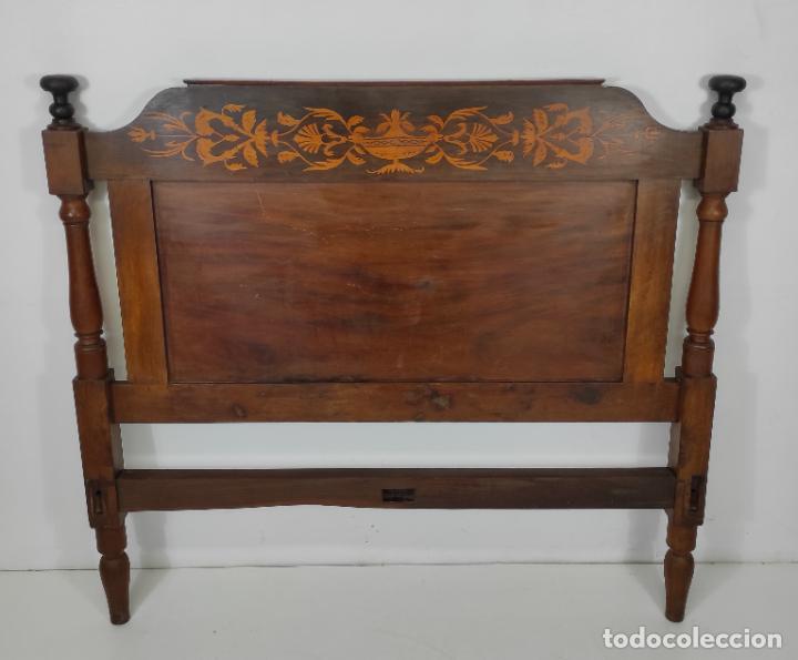 CABEZAL DE CAMA ISABELINA - MADERA DE CAOBA I MARQUETERÍA - S. XIX (Antigüedades - Muebles Antiguos - Camas Antiguas)