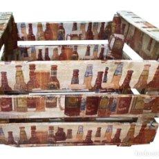 Antigüedades: ANTIGUA CAJA DE FRUTAS DECORADA CON CERVEZAS AL ESTILO ANTIGUO.. Lote 233370825
