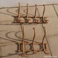 Antigüedades: 2 ANTIGUOS PERCHEROS DE 3 Y 4 BRAZOS TIPO THONET PERCHA DE MADERA. Lote 233385830
