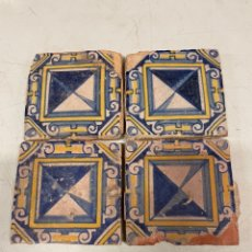 Oggetti Antichi: LOTE DE 4 AZULEJOS EN CERAMICA POLICROMA DE MANISES S.XVII. Lote 233400790