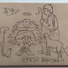 Antigüedades: BALDOSA AZULEJO CON DIBUJO DE FELIZ NAVIDAD. Lote 233427385