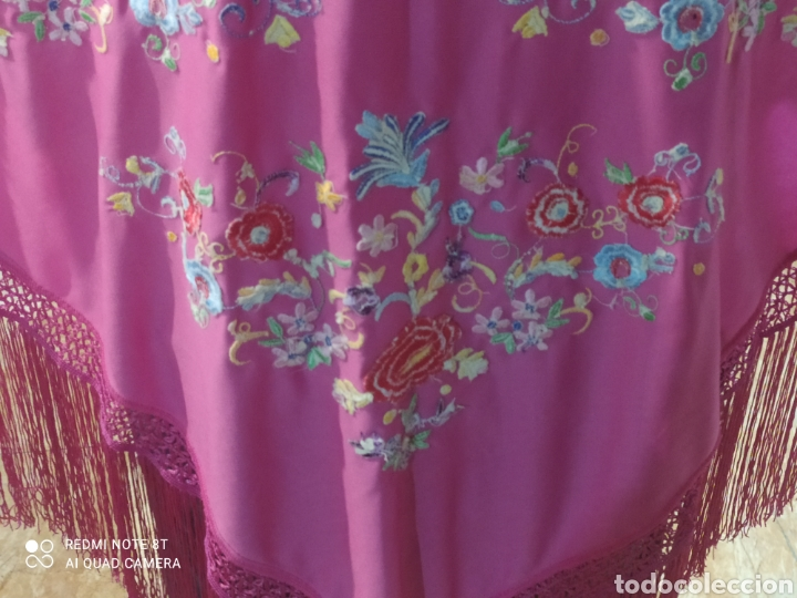Antigüedades: Impresionante manton antiguo bordado a mano precioso - Foto 3 - 233454790