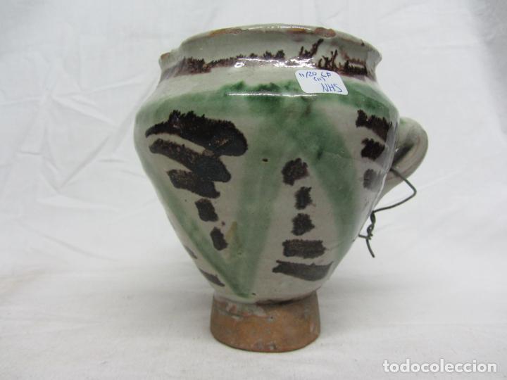 Antigüedades: Mortero de cerámica de Teruel en verde y manganeso - s. XIX - Foto 3 - 233550950