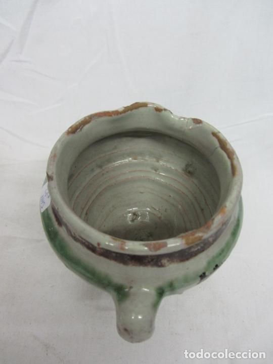 Antigüedades: Mortero de cerámica de Teruel en verde y manganeso - s. XIX - Foto 4 - 233550950
