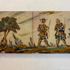 Oggetti Antichi: PAREJA DE AZULEJOS CON IMAGEN DE CAZADORES SELLADO RAMOS REJANO SEVILLA. Lote 233561695