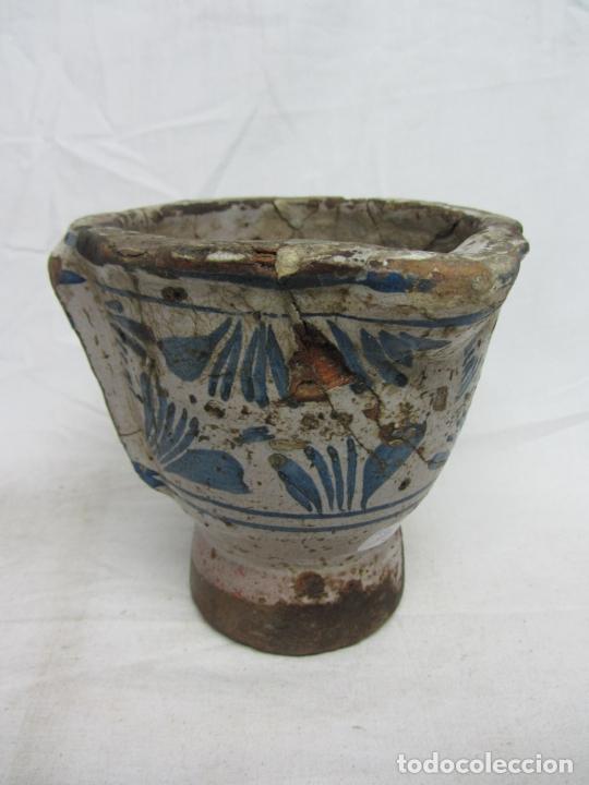 MORTERO EN CERÁMICA AZUL DE TERUEL - SIGLOS XVIII-XIX (Antigüedades - Porcelanas y Cerámicas - Teruel)