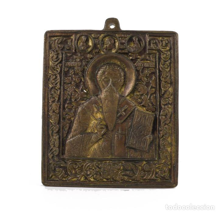 Antigüedades: Portapaz - Icono - bronce -San Nicolás - Foto 2 - 233627505