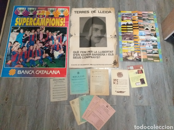POSTER F.C.B. BARCELONA,FALANGES JUVENILES DE FRANCO, XAVIER BARBERA TERRES DE LLEIDA ,POBLET ,ETC (Antigüedades - Varios)