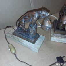 Antigüedades: LAMPARAS ANTIGUAS , LEÓN, MÁRMOL, EN BRONCE U OTRO METAL.. Lote 233710055