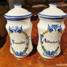 Antiquités: DOS TARROS CERÁMICA ESPECIAS WANDER TOMILLO Y ALBAHACA 18 CM. Lote 233716280