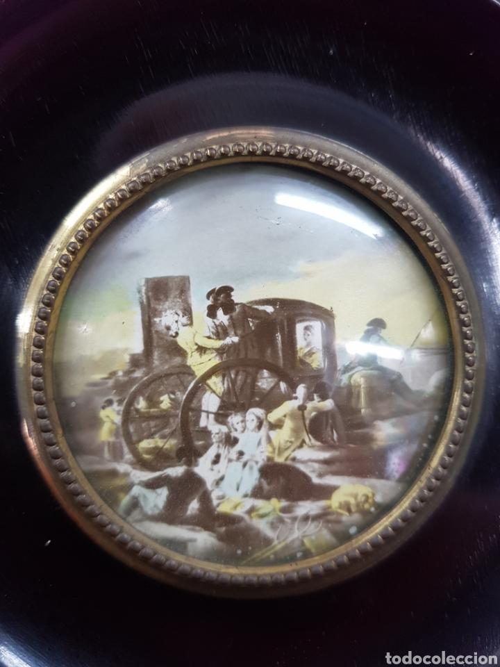 Antigüedades: Lote 2 cuadros lacados y decorados antiguos - Foto 5 - 233737295