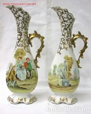 PAREJA DE JARRONES FRANCESES SEVRES (Antigüedades - Porcelana y Cerámica - Francesa - Limoges)