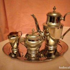 Antigüedades: SERVICIO DE CAFÉ O TÉ METAL PLATEADO , MARCA T . 4 PIEZAS, AÑOS 40. Lote 233916895