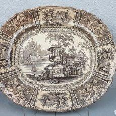 Antigüedades: ANTIGUA BANDEJA DE SARGADELOS MODELO GÓNDOLA TERCERA ÉPOCA DE COLOR SEPIA. AÑOS 1845 - 1862. Lote 233991230
