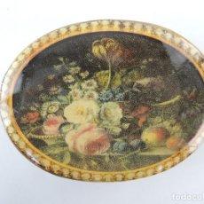 Antigüedades: BONITA CAJA DE MADERA DISEÑO FLORAL. Lote 234356620
