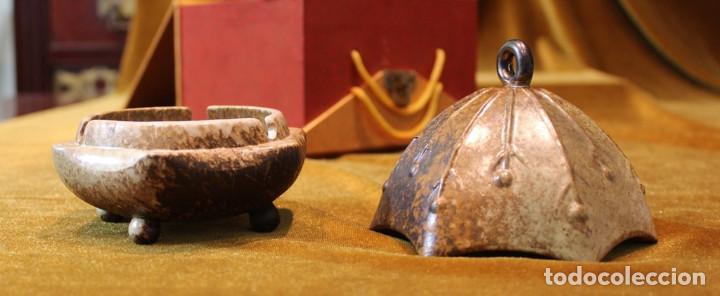 Antigüedades: Recipiente chino, alabastro, con caja original. 170 mm de altura y 150 mm de diámetro, - Foto 3 - 234365865