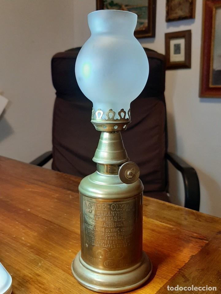 FAROLILLO, QUINQUÉ LAMPE OLYMPE, COMPLETO, CON MECHA, CON TULIPA, EN PERFECTO USO. GRABADO 1860 (Antigüedades - Iluminación - Quinqués Antiguos)