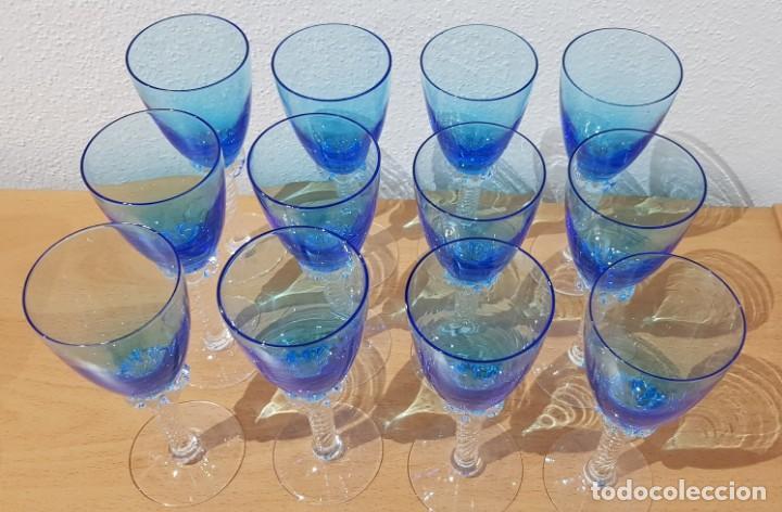 Antigüedades: Juego 12 copas 100 ml. - Cristal Murano - Foto 2 - 234411210