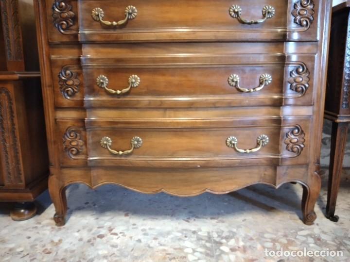 Antigüedades: Antigua cómoda de madera de roble. Estilo isabelino años 40,3 cajones, tiradores de bronce - Foto 3 - 234426370