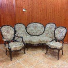 Antigüedades: TRESILLO ISABELINO DE CAOBA. Lote 234544850