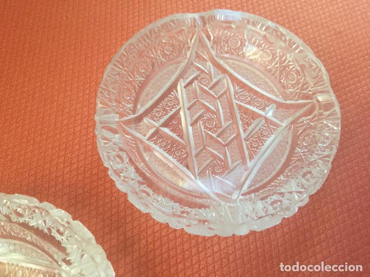 Antigüedades: PAREJA DE CENICEROS-CRISTAL LABRADO BOHEMIA-VINTAGE 1940-1950 - Foto 8 - 234556180