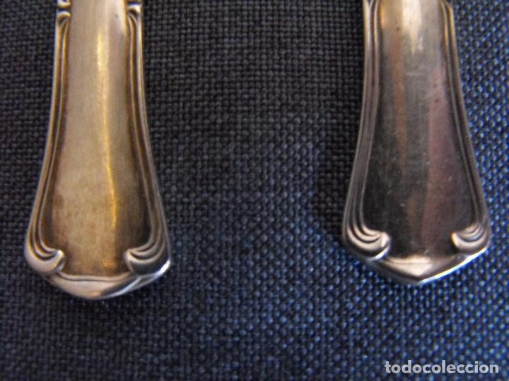 Antigüedades: Juego de seis cucharillas de postre de alpaca plateada. - Foto 2 - 234557875