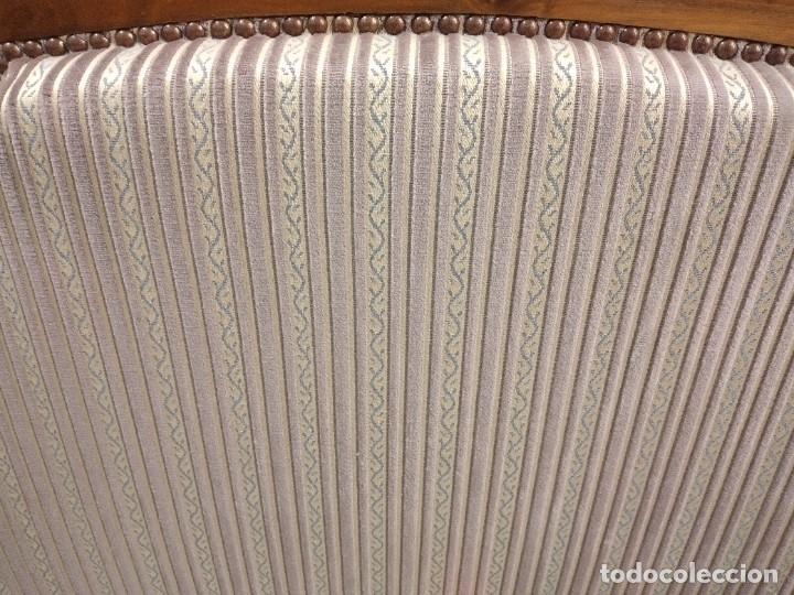 Antigüedades: Precioso sofá isabelino de madera noble, tapizad aterciopelado en rosa palido,con 2 cojines,1900 - Foto 11 - 234617210