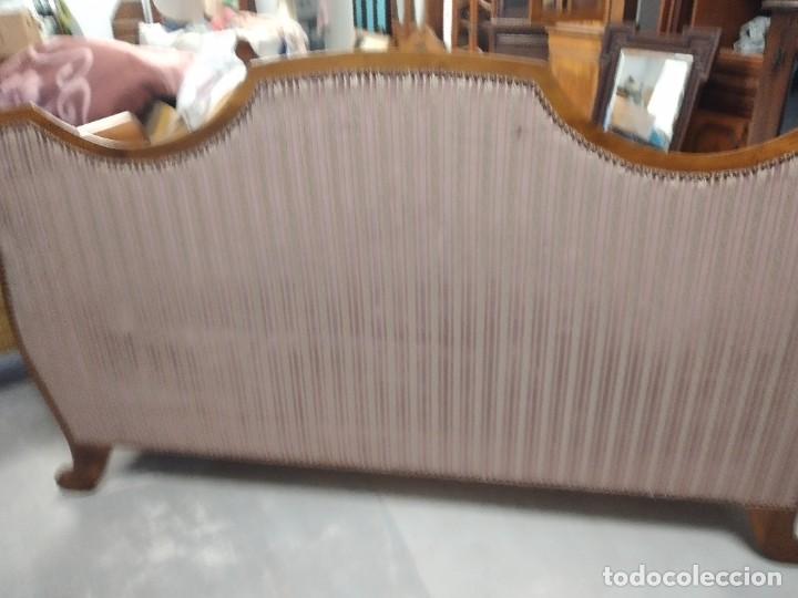 Antigüedades: Precioso sofá isabelino de madera noble, tapizad aterciopelado en rosa palido,con 2 cojines,1900 - Foto 13 - 234617210