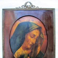Antigüedades: ANTIGUA PINTURA RELIGIOSA SOBRE COBRE BOMBE. Lote 234673105