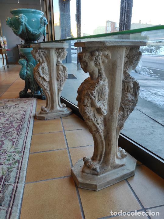 Antigüedades: Curiosa Ménsula - Esfinges de Terracota - Sobre Cristal Biselado - Decorativa Consola, Mesa - Foto 2 - 234692945