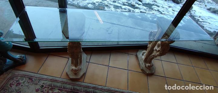 Antigüedades: Curiosa Ménsula - Esfinges de Terracota - Sobre Cristal Biselado - Decorativa Consola, Mesa - Foto 3 - 234692945