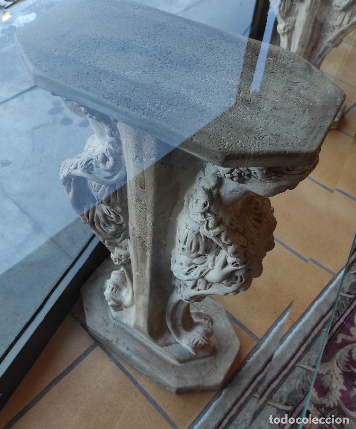 Antigüedades: Curiosa Ménsula - Esfinges de Terracota - Sobre Cristal Biselado - Decorativa Consola, Mesa - Foto 5 - 234692945