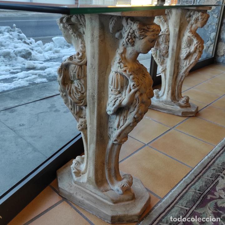 Antigüedades: Curiosa Ménsula - Esfinges de Terracota - Sobre Cristal Biselado - Decorativa Consola, Mesa - Foto 6 - 234692945